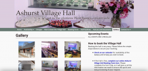 Screen shot of pa page from Ashurst village Hall's website